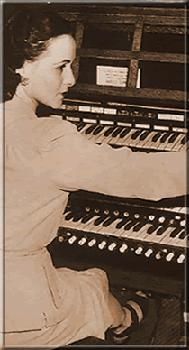 Claire Coci at the organ in Cadet Chapel – United States Military Academy in West Point, N.Y. (c.1940)