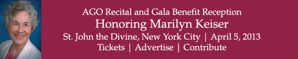 AGO Recital and Gala Benefit Reception Honoring Marilyn Keiser