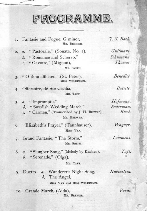 Page 4 of Opening Programme for Hook & Hastings Organ, Op. 1313 (1856) - Lafayette Avenue Presbyterian Church - Brooklyn, New York (courtesy Lafayette Avenue Presbyterian Church)