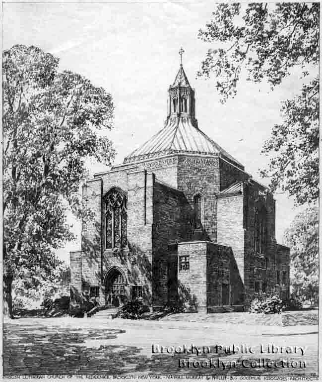 Proposed Drawing (1927) of Flatbush Lutheran Church of the Redeemer - Brooklyn, NY (Mayers, Murray & Phillip)