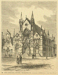 St. Ann's Episcopal Church - Brooklyn Heights, New York (Wood engraving after a sketch by T.R. Davis, ca 1880)