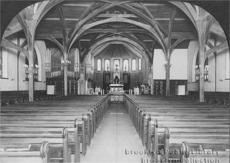 Reuben Midmer & Son organ (1910) in St. Bartholomew's Protestant Episcopal Church - Brooklyn, N.Y. (photo: Brooklyn Eagle, Brooklyn Public Library, Brooklyn Collection)
