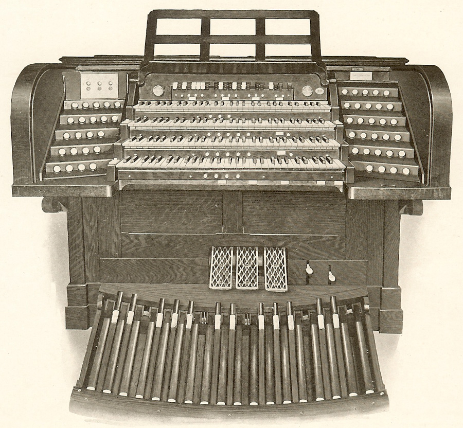 Console of Reuben Midmer & Sons organ (<1917) in Church of St. John the Baptist - Brooklyn, NY