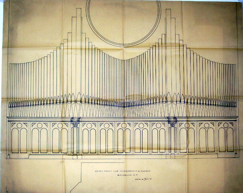 Drawing of Facade for Tellers-Kent Organ Company, Op. 241 (1921) in St. Michael's (German) Catholic Church - Brooklyn, N.Y. (credit: Aaron M. Tellers)