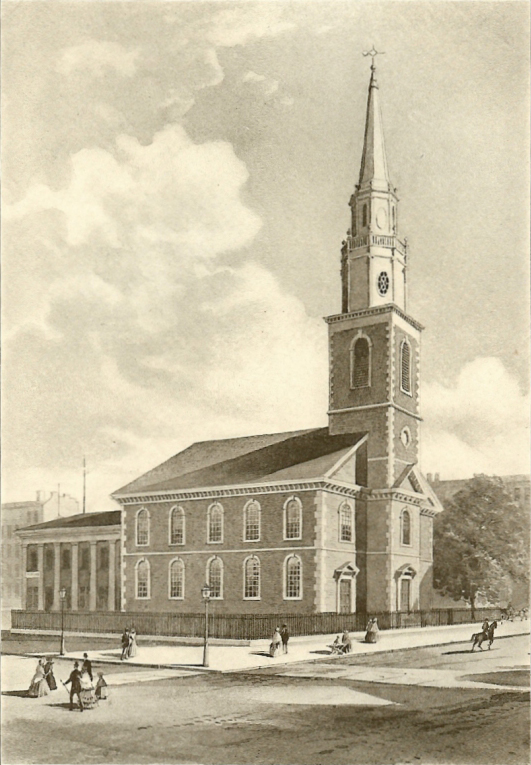 """New Church"" or ""Brick Meeting"" (1768-1856) on Beekman Street - New York City (photo: Brick Presbyterian Church)"