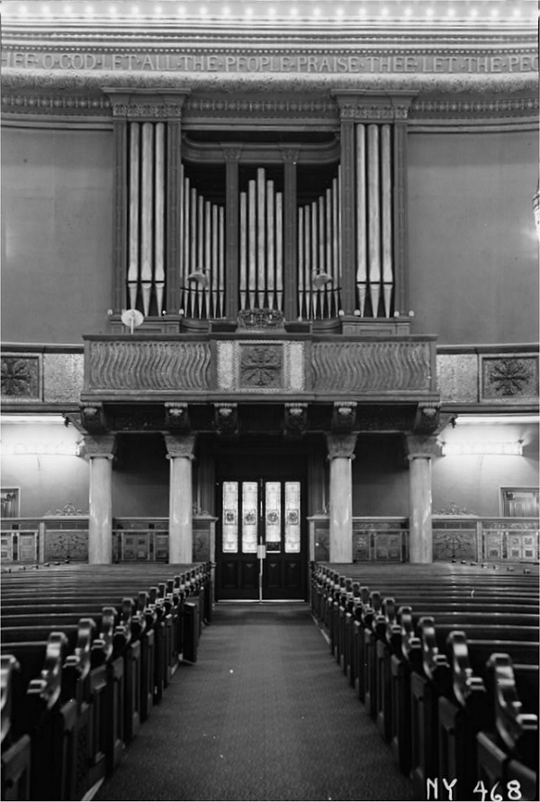 Hutchings Organ Case in The Brick Presbyterian Church - New York City (photo: Arnold Moses, Historical American Buildings Survey, 1937)