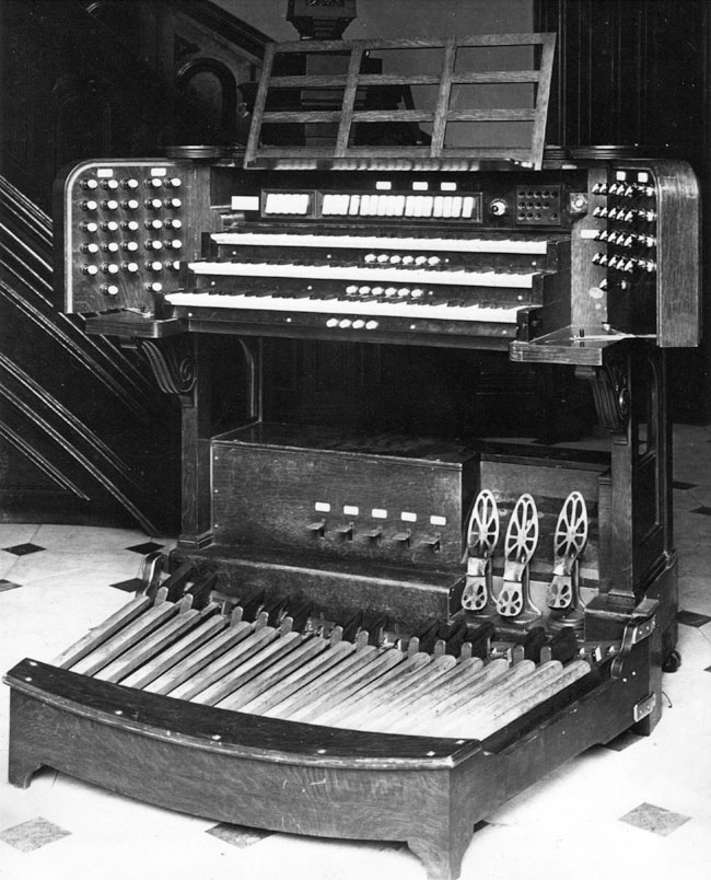 "The ""bat-wing"" console of the Geo. S. Hutchings Organ, Op. 428 (1898) previously at The Brick Church - New York City (photo: Jim Lewis)"