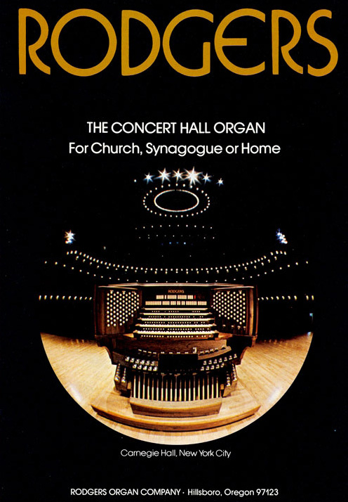 Rodgers Electronic Organ (1974) at Carnegie Hall - New York City (photo: Richard Torrence)