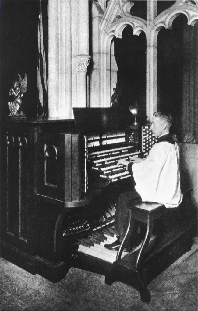 Ernest Mitchell at the Chancel Console of Skinner Organ, Op. 707 (1928) in Grace Church - New York City (Grace Church Archives)