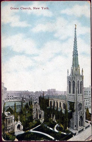 1910 Postcard of Grace Episcopal Church on Broadway and Rector Street - New York City