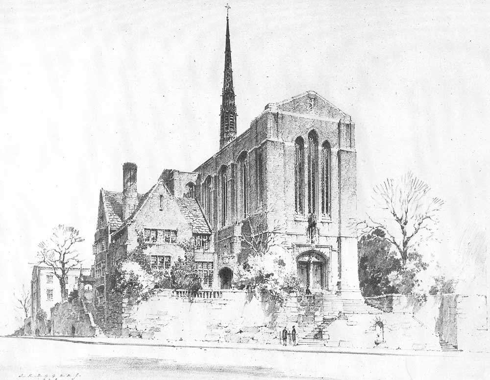 Proposed Holy Trinity Episcopal Church (Inwood) - New York City (drawing by John Russell Pope, architect)