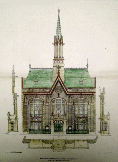 Manhattan Congregational Church - New York City (Architect's Drawing)