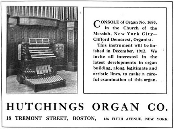 George S. Hutchings Organ, Op. 1680 (1912) in Church of the Messiah - New York City