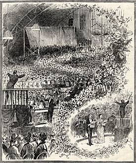 "Opening Night of the New York Music Festival of 1881 - Handel's ""Dettingen Te Deum."" Wood engraving from cover of American Art Journal (14 May 1881)"