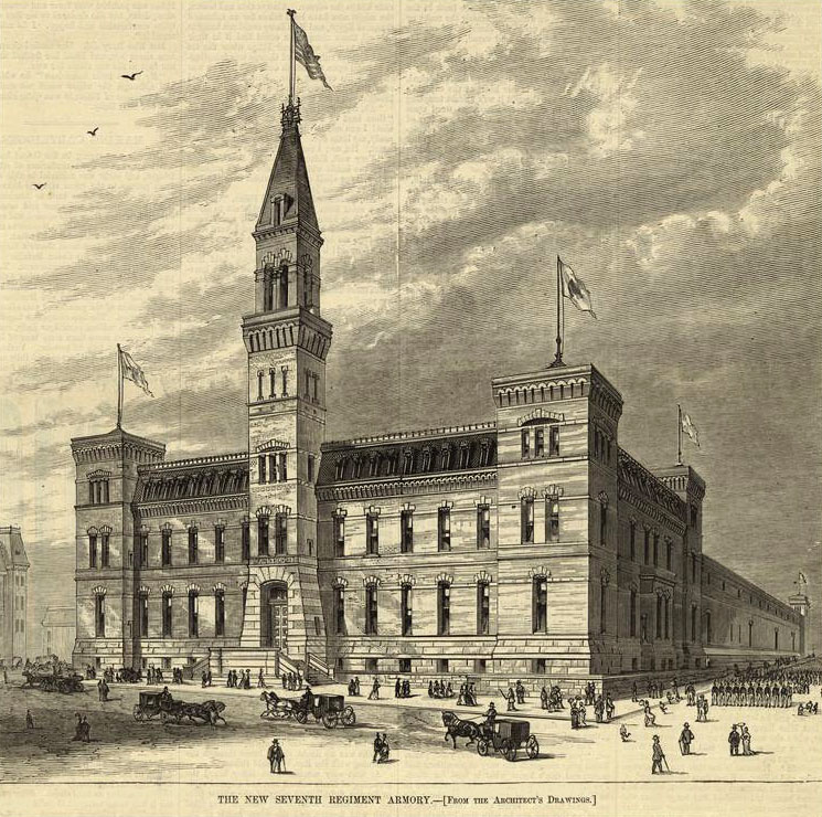 "Seventh Regiment Armory ""From Architect's Drawing"" (1877) - New York City (Harper's Weekly)"