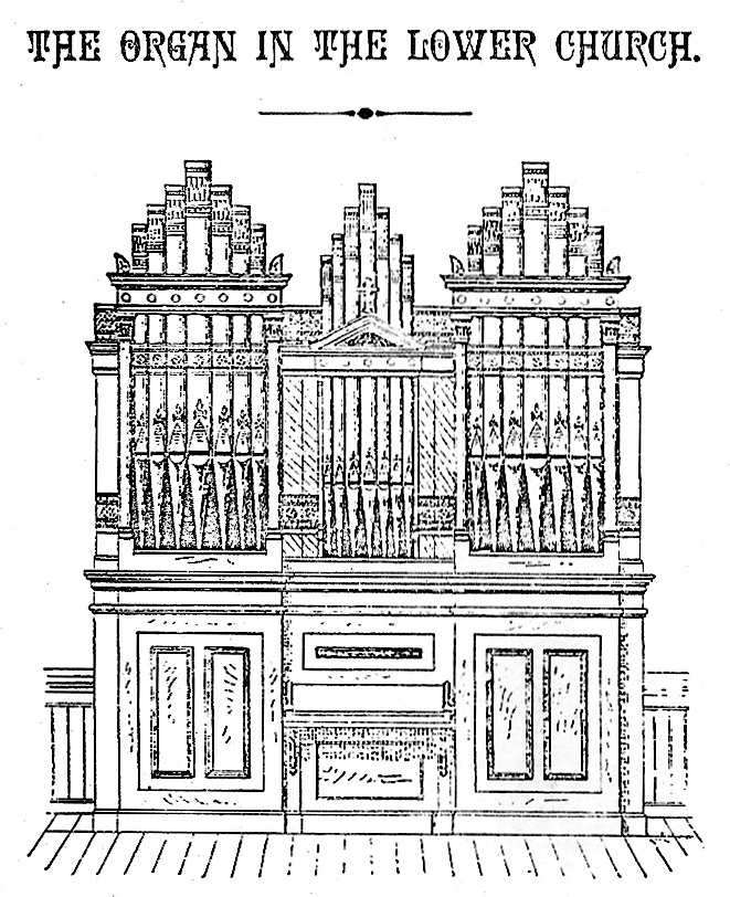 Drawing of E. & G.G. Hook & Hastings organ, Op. 1024 (1881) in Lower Church of St. Francis Xavier Church - New York City (Church booklet)
