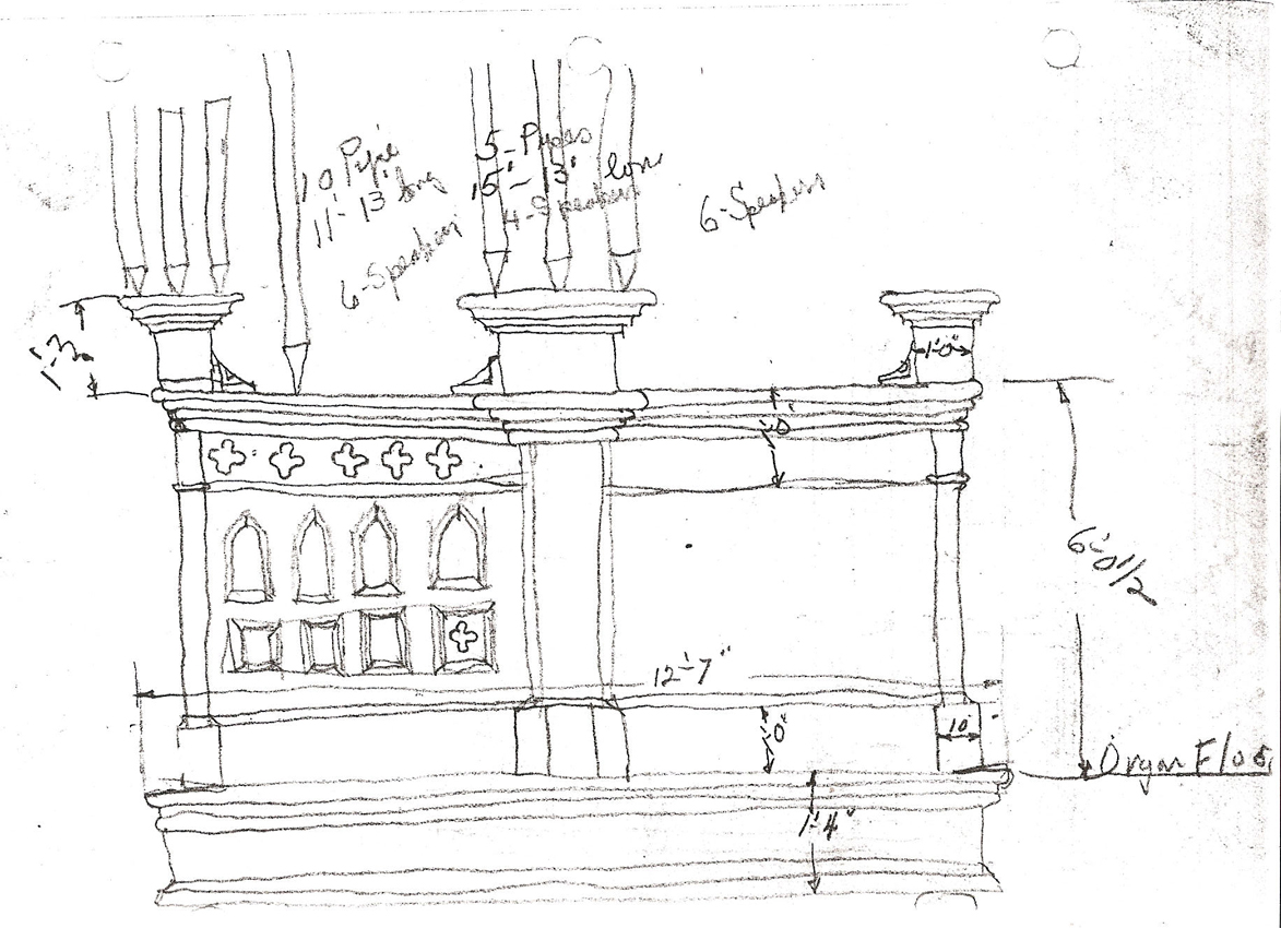 Skinner organ, Op. 554 (1925) in St. Matthew & St. Timothy Episcopal Church - New York City (Sketch, Charles H. Atkins)