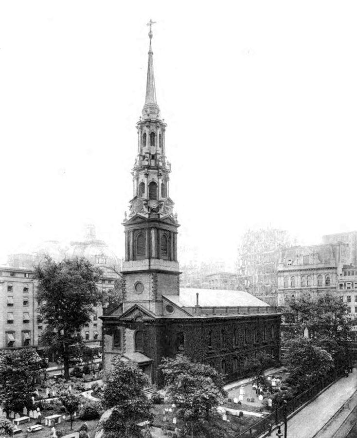 1898 photo of St. Paul's Chapel (Trinity Church) - New York City