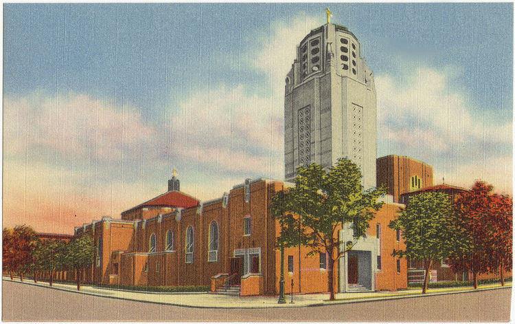 Undated Postcard of Church of the Blessed Sacrament - Jackson Heights (Queens), N.Y. (Boston Public Library)