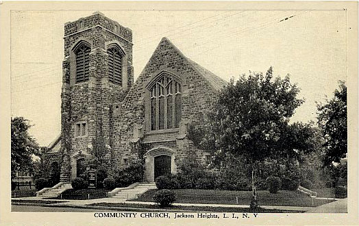 Community United Methodist Church - Jackson Heights (Queens), NY (1938 postcard)