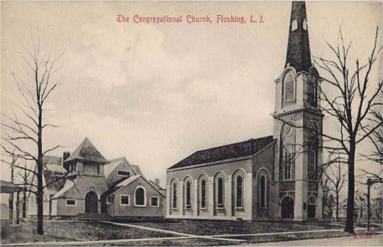 1909 Postcard of The Congregational Church in Flushing (Queens), New York