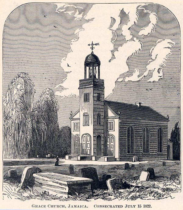 1822 edifice of Grace Church (Episopal) in Jamaica, Queens, New York