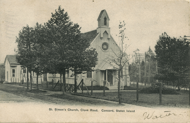Undated postcard of St. Simon Episcopal Church - Clove Road - Staten Island, NY (NYPL)